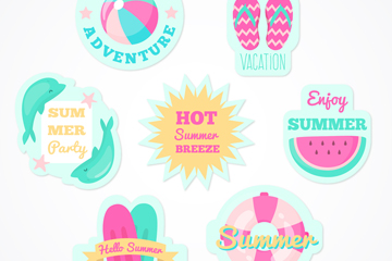 7款彩色夏季元素�N�矢量素材