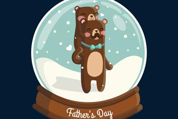 卡通父�H�棕熊雪花水晶球矢量�D