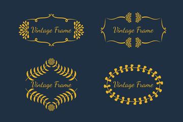 6款金色复古花纹框架矢量图