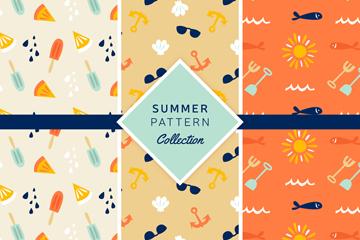 3款清新夏季元素无缝背景设计矢