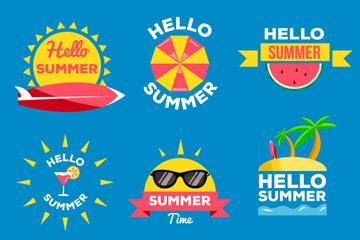 6款彩色夏季元素�撕�矢量素材