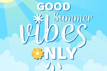 创意夏季好天气艺术字矢量素材
