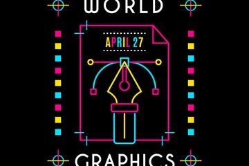 彩色世界平面设计日钢笔尖矢量素材