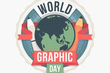 创意世界平面设计日地球矢量图
