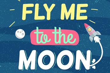 彩色带我飞上月亮艺术字矢量图