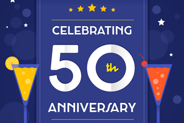 蓝色50周年纪念日海报矢量素材