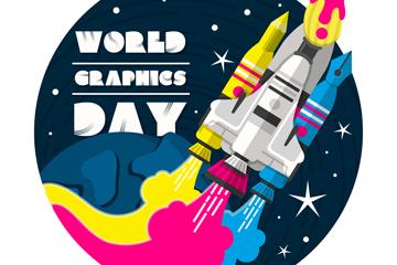 创意世界平面设计日火箭矢量素材