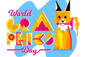 抽象世界平面设计日狐狸矢量素材