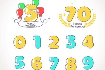 12款彩色周年纪念数字矢量素材