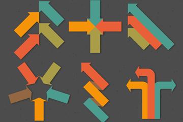 6组彩色箭头设计矢量素材