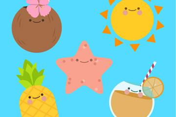 5款可爱表情夏季元素矢量素材