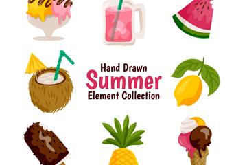 8款手绘夏季食物矢量素材