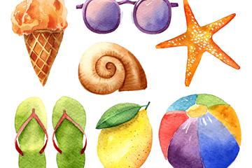 7款水彩绘夏季物品矢量素材