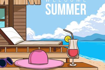 夏季海边度假屋风景矢量素材