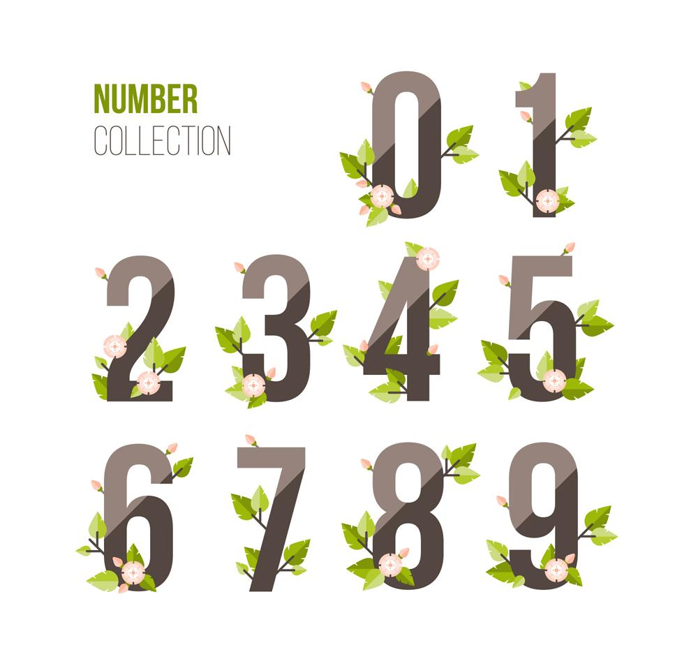9款创意质感数字装饰玻璃花卉树叶矢量图益阳v质感设计院图片
