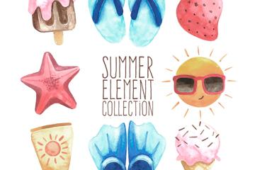 8款彩绘夏季度假元素矢量素材