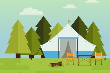 扁平化夏季郊外野营帐篷矢量素材