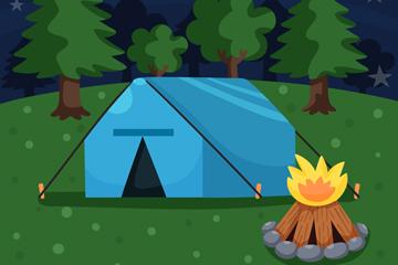 创意夜晚树林中的野营帐篷矢量图