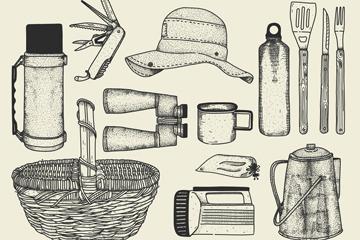 13款手绘夏季野营物品矢量素材