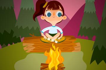 可爱夏季野营中的女孩矢量素材