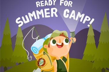 可爱夏季野营男孩矢量素材