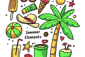 14款彩色夏季度假元素矢量图