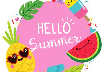 可爱夏季食物框架最新网络赌博网站