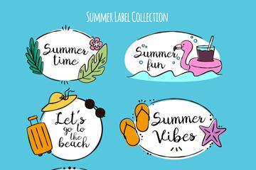 6款彩绘夏季语言标签矢量素材