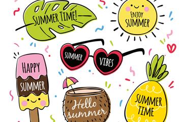 6款彩绘夏季标签矢量素材
