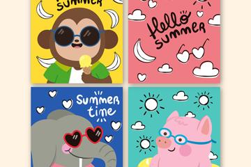 4款彩绘夏季动物卡片矢量图
