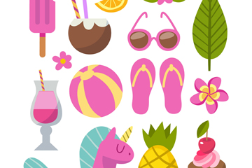 13款粉色夏季度假元素矢量素材