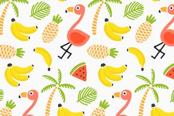 可爱火烈鸟和水果无缝背景矢量图