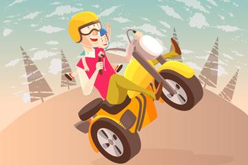 创意骑越野摩托车的父子矢量图
