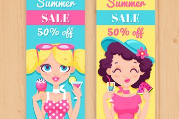 2款创意女孩夏季半价促销banner矢量图