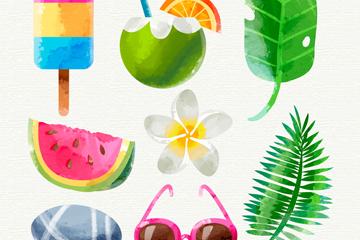 8款水彩绘夏季元素矢量素材