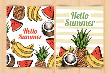 2款彩绘夏季水果卡片矢量素材