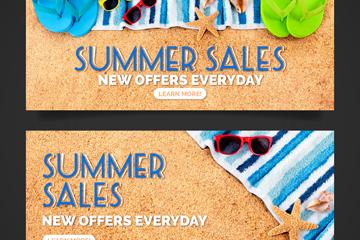 2款夏季沙滩销售banner矢量素材