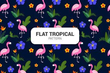 扁平化热带花鸟无缝背景矢量素材