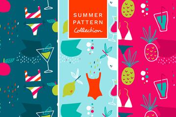 3款彩色手绘夏季度假元素无缝背