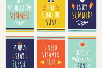6款彩绘夏季短句子卡片矢量素材
