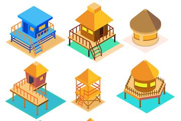 9款彩色立体海边度假小屋矢量图