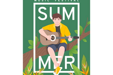 创意吉他男子夏季音乐节海报矢量图