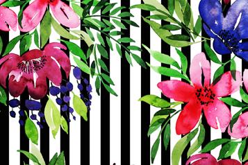 彩绘花卉和黑白条纹背景矢量图