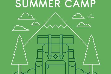 绿色2D风格野营背包招贴画矢量图