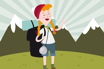 创意夏季野营的背包女子矢量素材