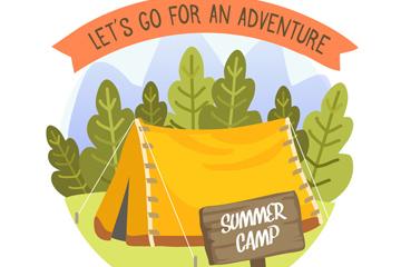 创意树林里的黄色帐篷矢量素材