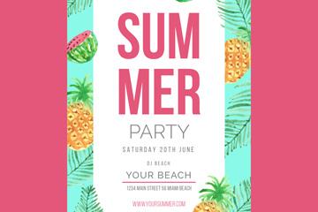 水彩绘水果夏季派对传单矢量素材