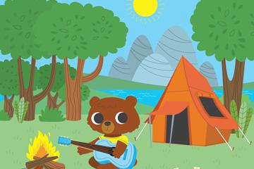 创意野营中的棕熊矢量素材