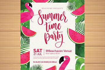 彩绘西瓜和火烈鸟夏季派对传单矢量图