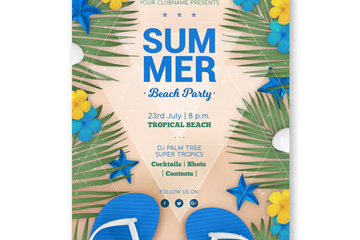 蓝色夏季沙滩派对传单矢量素材
